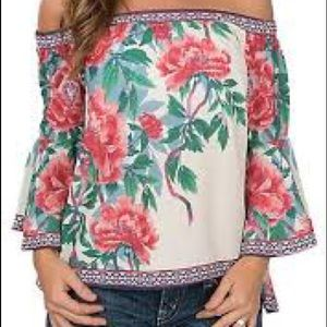 Flying Tomato Women's Ivory Floral OTS Top